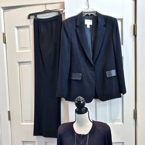 Navy leather trim jacket, sweater, slacks set